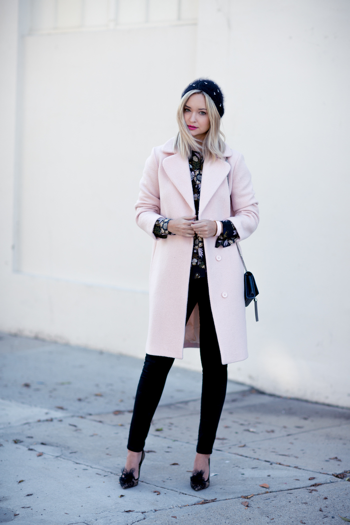PINK MAJE COAT_BLACK JEANS-2