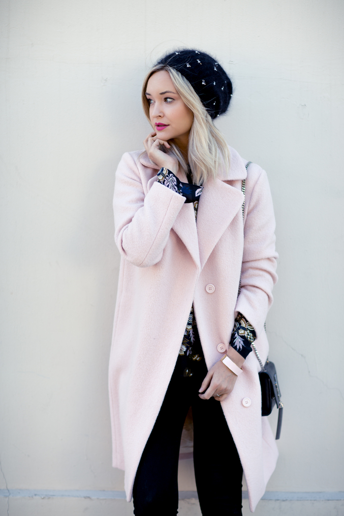 PINK MAJE COAT_BLACK JEANS-3